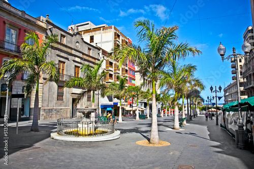 Mein street of old town Santa Cruz de Tenerife, Spain.