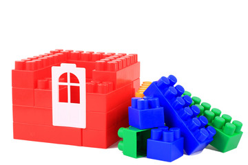 Set color plastic building blocks on white isolated background