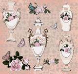 collection of vases, roses and butterfly