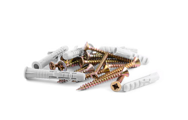Pile of Wood Screws on white background