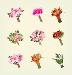 set of many bouquets of flowers