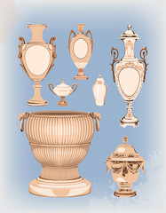 collection of decorative ceramic vases