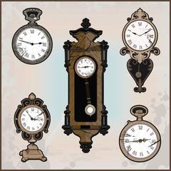 collection of retro clocks