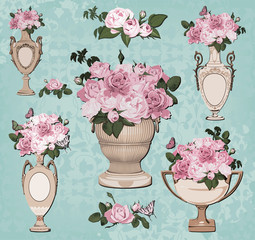 collection of vases, roses on blue background