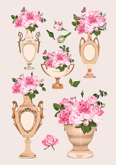 collection of vases, roses on pink background