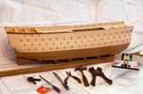 unfinish wooden ship model hull