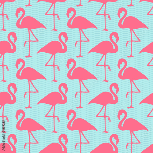 Seamless Pattern Flamingos Pink Waves © Jan Engel