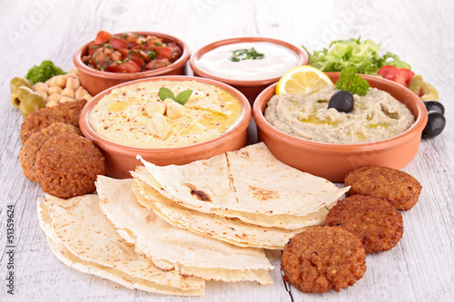 assorted of oriental food, mezze
