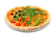 vegetable pizza with tomato, olives, pepper, arugula