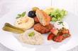 falafel, spread and salad