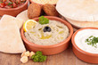 hummus, aubergine caviar and pita bread