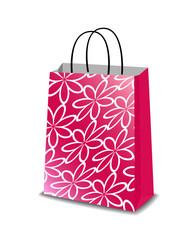 Pink paper shopping bag with floral pattern