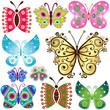 Set fantasy butterflies