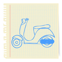 Hand draw line blue vespa cartoon_on paper
