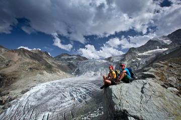 Switzerland - hikers - Glacier view
