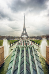 Water cannons of Gardens of the Trocadero and Eiffel Tower
