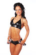 woman in latex underwear and with dumbbells