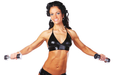 hot brunette with a pair of iron dumbbells
