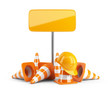 Traffic cones and hard hat. Road sign. Icon isolated on white ba