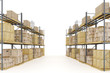 Warehouse with goods packed at various levels