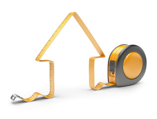 House and measuring tape 3D. Construction tool. Icon isolated on