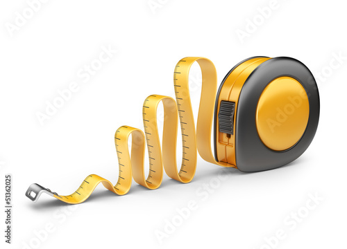 Tape measure ruler. 3D Icon isolated on white background