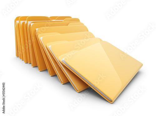 Heap of folders and files. 3D Icon isolated on white