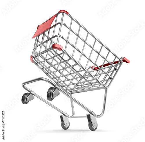 Crazy market cart 3D.  Shopping concept. Isolated on white backg