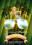Fototapety Vector Summer Beach Party Flyer Design with sexy girl