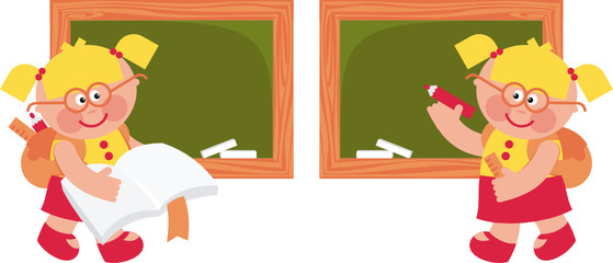 schoolgirl board – vector illustration