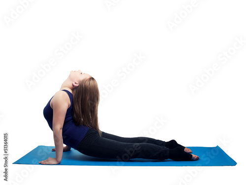 young woman yoga exercise up looking dog - isolated