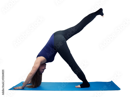 young woman yoga exercise standing spagat - isolated