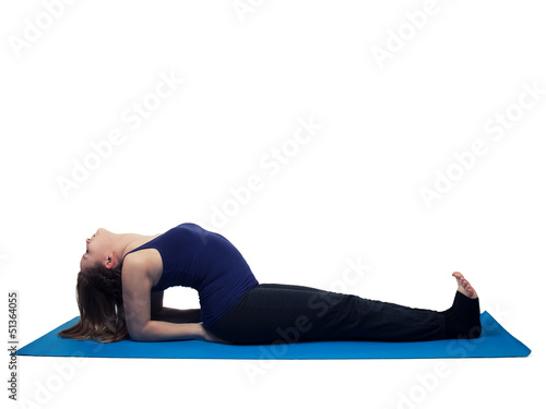 young woman yoga exercise the fish - isolated
