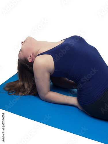 beautiful young woman yoga exercise the fish - isolated