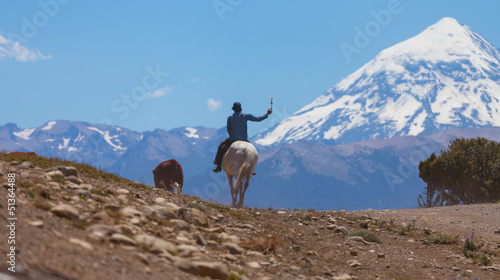 Gauchos and herd of cows, volcano Lanin, Patagonia, Argentina