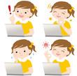 パソコンをする子供 表情 セット