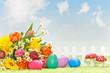 Blumen mit Ostereiern