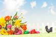 Blumenstrauss mit Ostereiern