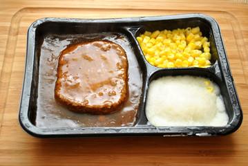 Salisbury Steak TV Dinner with Corn and Potatoes