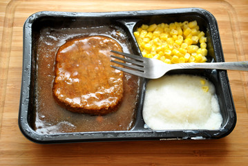 Salisbury Steak TV Dinner with a Fork