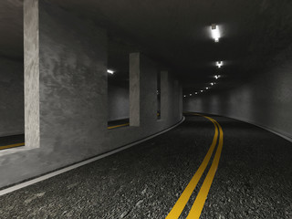 3d Illustration of Urban Highway Road Tunnel