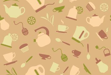 Seamless background on a tea theme