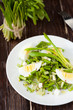 spring salad with fresh ramson and egg