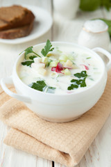 Russian okroshka with yogurt and vegetables,