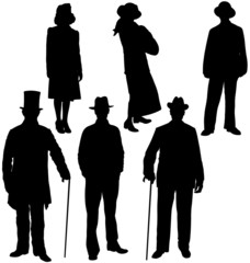 Gentleman and lady silhouettes. Layered and fully editable