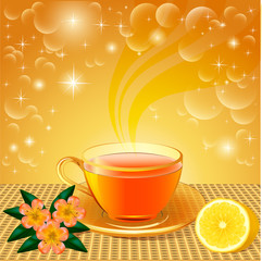 background with flower tea and lemon