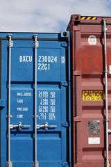Oversized red cargo container locked