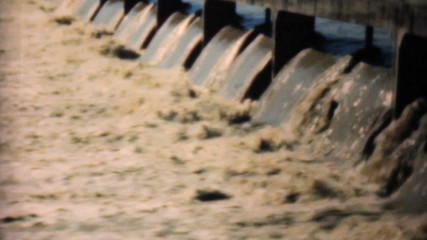 Flood Waters Pour Through Spillway -1948 Vintage 8mm