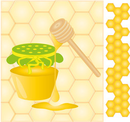 Honey jar with honey comb, vector illustration