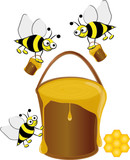 Bees collecting honey, vector illustration